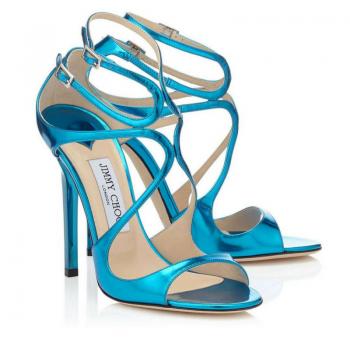 sandali azzurro metallizzato Jimmy Choo